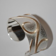 Silver and 9ct Gold Cuff