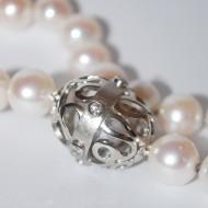 Palladium Diamond Pearl Necklace