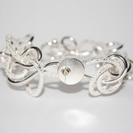 Silver 18ct Gold and Diamond Bracelet