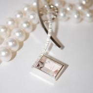 Silver Palladium Rose Quartz Pearl Necklace