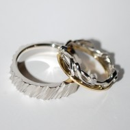 Palladium 18ct Gold Diamond Wedding Rings
